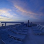 This is the sun (sunset!) deck on the Turks and Caicos Explorer II.