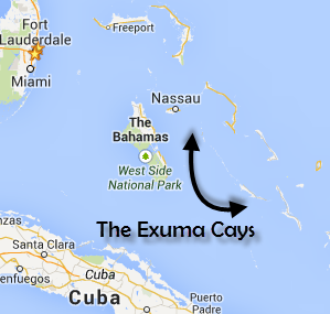 Map of the Exuma Cays in The Bahamas