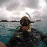 On the surface just before heading down for our dive at The Forks in Barbados February 2015