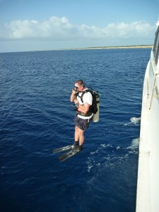 This scuba dive entry is neat and tidy!  They enter the water just like a torpedo!